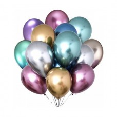 Krom Balonlar Parlak 10 Adet Karışık Renklerde Happy Land