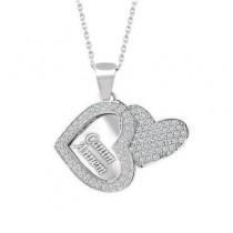 İsim Yazılı Kalpli Model Gümüş Bayan Kolye
