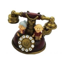Nostaljik Telefon Tasarımlı Nine Dede Temalı Dekoratif Kumbara
